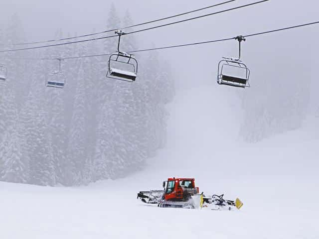 Snowing at Brundage Ski Resort on Opening day