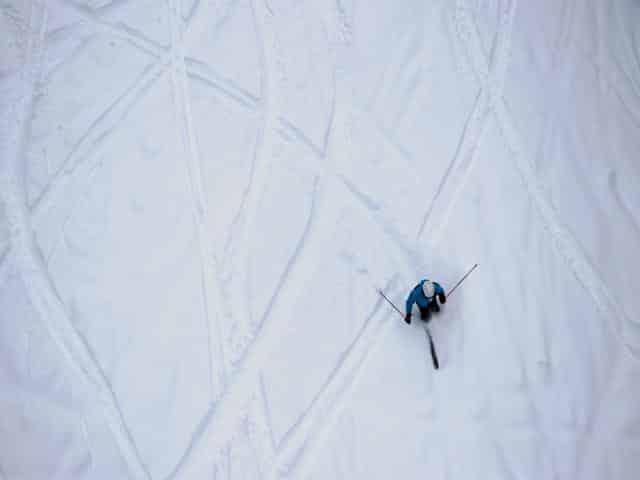 Brundage Ski Resort Powder Turns below Bluebird Chair on opening day