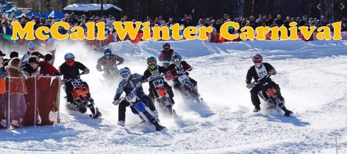 McCall Winter Carnival Complete Calendar of Events including the snowbike races, fireworks, parade and concerts.
